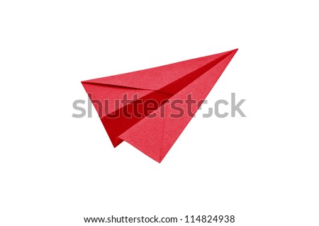 Red Paper aircraft, Paper Plane on a white background, - stock photo