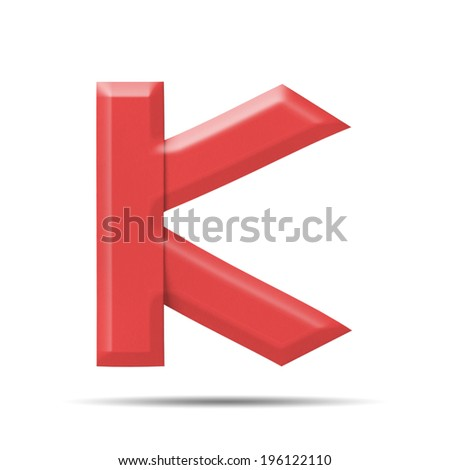 "Red Paper alphabet  "" K "" on a white background with clipping paths."