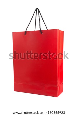 Red paper bag isolated on white.