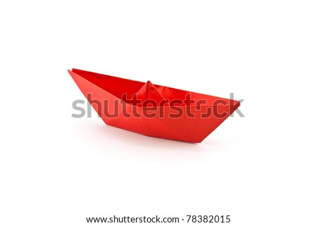 red paper boat isolated on white background