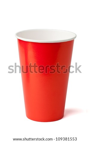 Red paper cup isolated on a white background