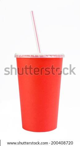Red paper cup isolated on white background  - stock photo