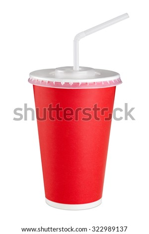 Red paper cup isolated on white background. Close up.