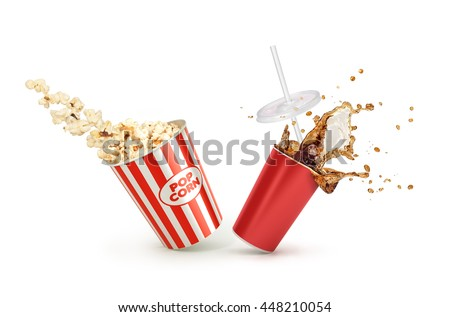 Red Paper cup with cola splash and falling Popcorn in box isolated on white background
