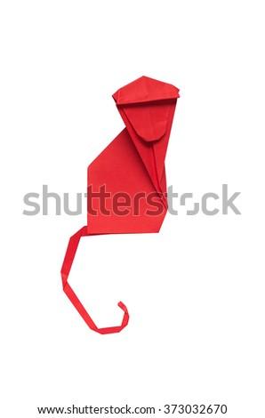 Red paper folded origami monkey on white background isolated. - stock photo