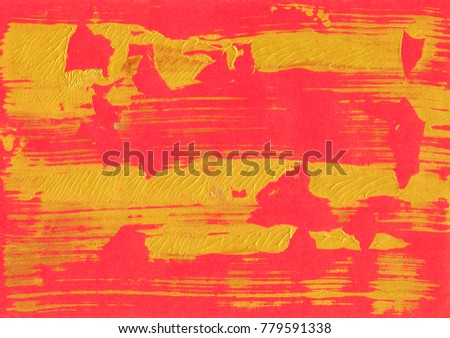Red paper Golden painting foil texture background. Beautiful natural handmade golden foil background with painting spots, lines, splashing.