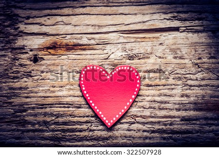 Red paper heart on wooden background, Blank pink paper note with heart shape on grunge blue wooden background with copy space - stock photo