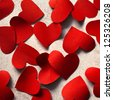 Red paper hearts, Valentine background - stock photo