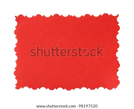 Red paper isolated on a white background. - stock photo