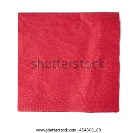 red paper napkin isolated on white background