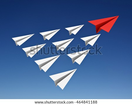 Red paper plane leads white paper planes in the blue sky leadership concept. 3D rendering.