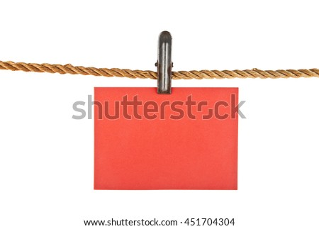 red paper rope isolated on white background closeup - stock photo