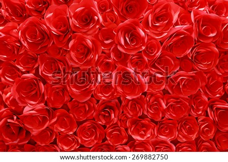 Red paper roses background  - stock photo