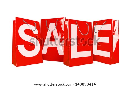 Red paper shopping bags isolated on white - stock photo