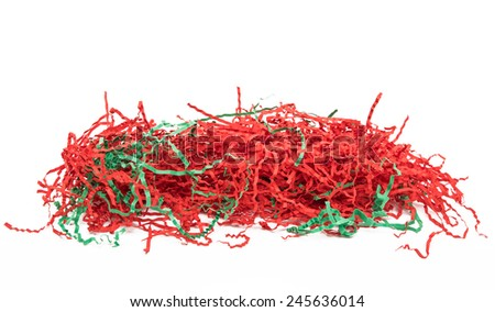 Red Paper Shreds Isolated on White Background - stock photo