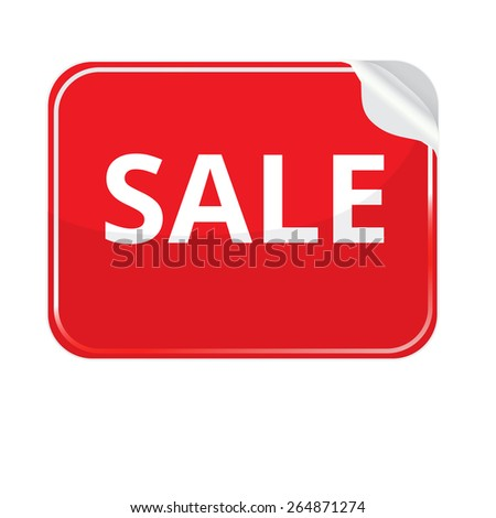 Red paper sticker on white background.  stickers with curled edge. Sticker rectangular shape. Stickers on the theme of sale - stock photo