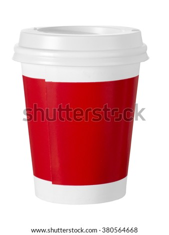 Red paper takeaway drink cup.Isolated on white. - stock photo