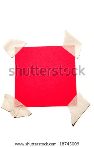 Red paper taped to white
