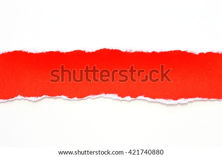 red paper tears on white background
