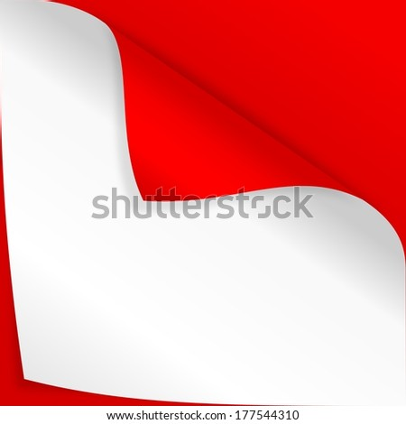 Red paper with two curved horns - illustration