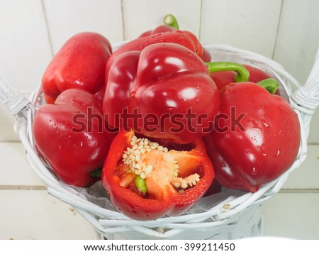 Red paprika in basket - stock photo