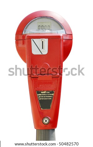 Red parking meter isolated on white background with clipping path. - stock photo