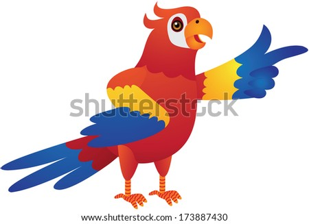 Red Parrot Cartoon Illustration - stock photo