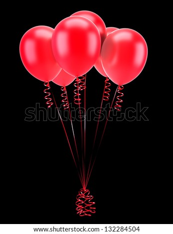 red party balloons with ribbons isolated on black background - stock photo