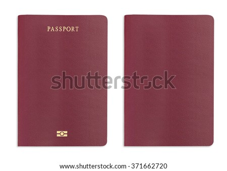 Red passport texture background on white background with clipping path. - stock photo