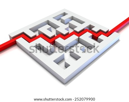 Red path going through labyrinth. 3D illustration isolated on white background. Concept of creative success, marketing, strategy and motivation. - stock photo