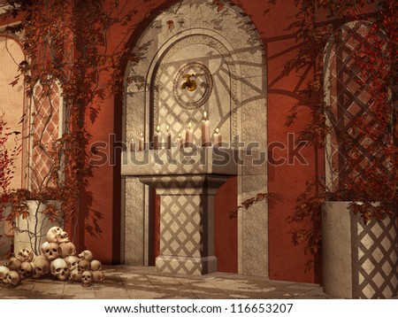 Red patio with autumnal ivy, candles and skulls