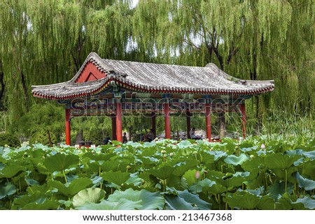 Red Pavilion Lotus Pads Garden Temple of Sun City Park, Beijing, China Willow Green Trees - stock photo