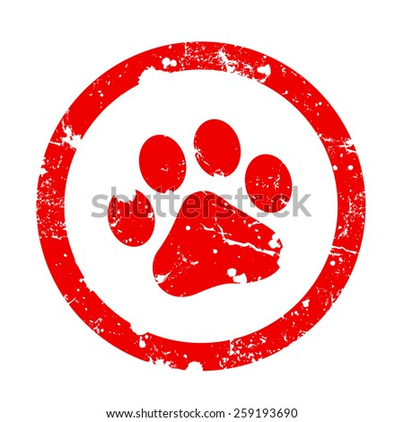 Red paw print inside circle frame grunge clipart isolated on white background. Paw print stamp - stock photo
