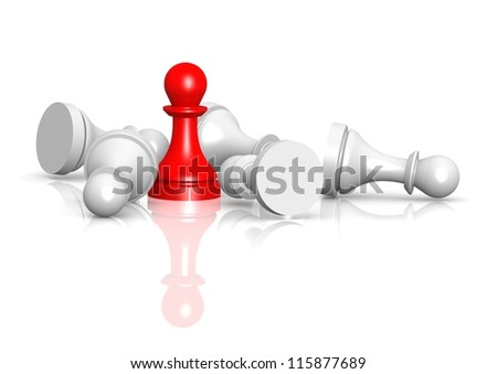 Red pawn over white