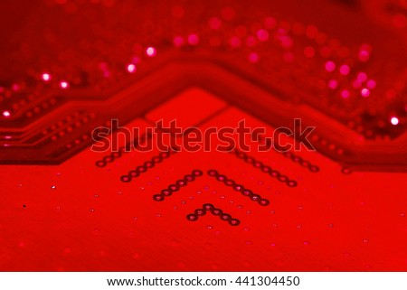 red pcb motherboard chip microchip integrated circuit board pattern background - stock photo