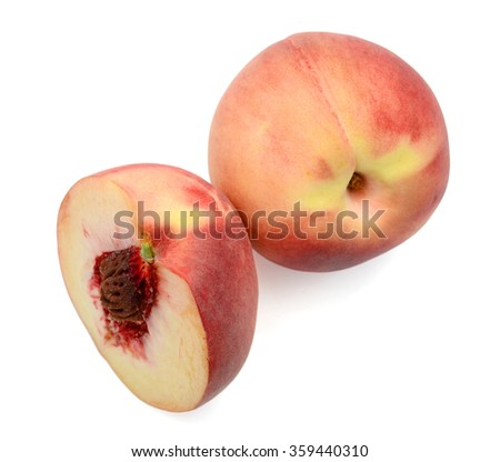red peaches isolated on white