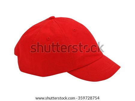 red peaked cap isolated on white - stock photo