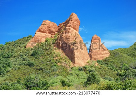 Red Peaks in Las Medulas, ancient roman mines in Leon, Spain. - stock photo