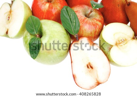 red pear and green apple with half isolated over white background - stock photo