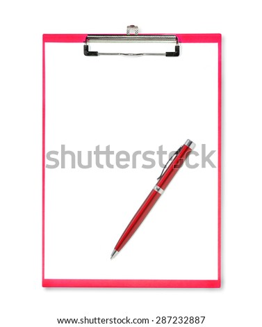 Red pen on red clipboard with paper on white background