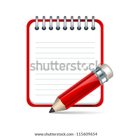 Red Pencil and notepad icon. - stock photo