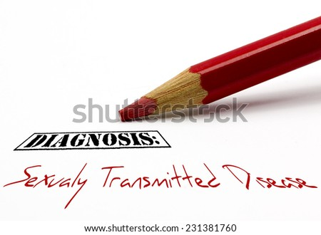 Red pencil - Diagnosis: Sexually Transmitted Disease - stock photo