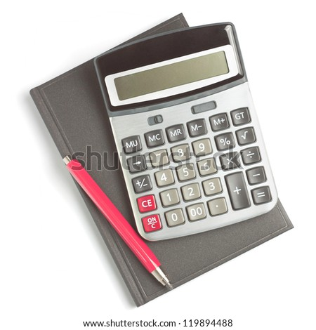 red pencil, diary and calculator isolated on white background - stock photo