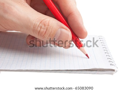 red pencil in hand  isolated on white background