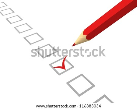 red pencil making tick in check box on white background - stock photo