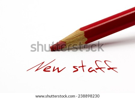 Red pencil - New staff - stock photo