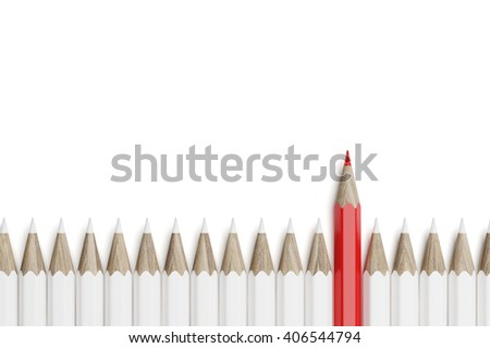 Red pencil on the line of white pencils. Top view. 3d rendering