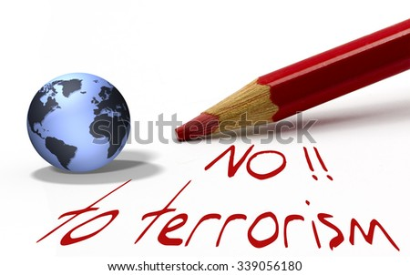 Red pencil with globe - no to terrorism - stock photo