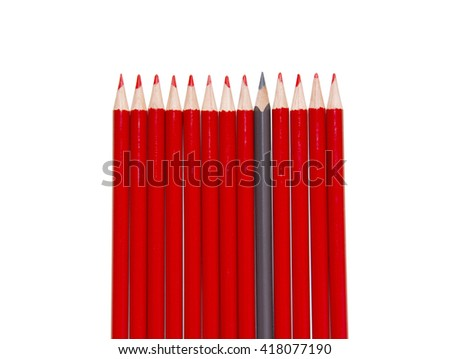 Red Pencils and black one, isolated - stock photo