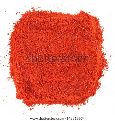 Red pepper  spice square  isolated on white background - stock photo